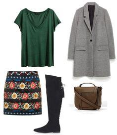 Y:  Bluzka H&M  Płaszcz Zara  Torebka Aldo  Spódnica, buty Topshop