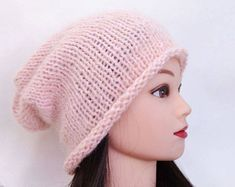 05214a9d965 Items similar to Сhunky knit Gray wool hat gift for sister Knit hat women  beanie Wool hat winter beanie Hand knitted hat Wool cap Warm hat Baggy hat  on Etsy