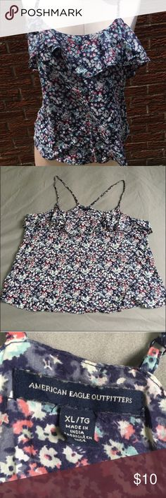 American Eagle flowy floral tank Wore a fair amount, but still in good condition - normal wear and tear. Straps are adjustable. The first, seventh and eighth pictures are from google, but they are the same top as the one I have. They are included to show the fit and style. Very soft material. Reasonable offers please. No trades American Eagle Outfitters Tops Tank Tops