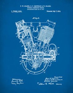 Patent Print, Spacke Engine, Internal Combustion Engine Patent, Motorcycle Engine Print, Engine Wall Decor, Moyorcycle Engine Blueprint P140 by NeueStudioArtPrints on Etsy