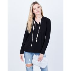 Lightweight Hoodie ($26) ❤ liked on Polyvore featuring tops, hoodies, loose fitting tops, hooded pullover, light weight hoodies, layered tops and hooded top