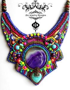 Yoruba tribe, ethnic jewelry, Neon purple pink bronze rainbow beaded bib necklace, purple agate, turquoise, bronze crown, fashion 2016