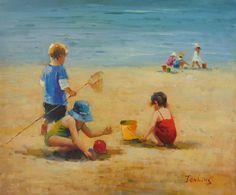 """Beach Scene"", #3069  Decorative  contemporary  Jenkins, oil on canvas, 20 x 24 ins.  $1,999 Beach Canvas, Beach Scenes, Oil On Canvas, Around The Worlds, Fine Art, Contemporary, Artist, Painting, Collection"