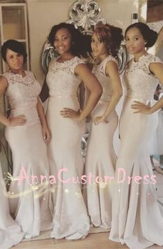 Mermaid Scoop Ivory Lace Jersey Long Bridesmaid Dress 2018 38ba6c3fde1c