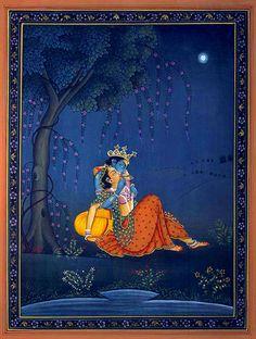 ❝Krishna in Moonlite Light❞ | KAILASH RAJ Señor Krishna, Krishna Avatar, Krishna Statue, Pichwai Paintings, Mughal Paintings, Indian Art Paintings, Lord Krishna Wallpapers, Radha Krishna Wallpaper, Lord Krishna Images