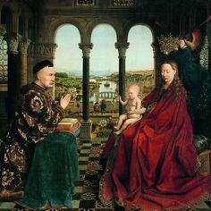 Jan van Eyck (1435)   La Vierge au Chancelier Rolin - huile sur bois, 66 x 62 cm, Musée du Louvre, Paris
