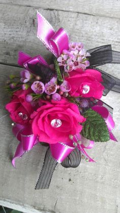 Hot pink and purple corsage