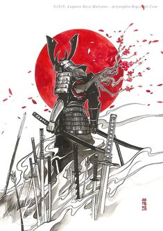 Which one is your favorite? Art by . The Last Warrior Battousai of the Crimson Moon Onimusha Invisible Under the… Samurai Drawing, Samurai Anime, Samurai Artwork, Japanese Art Samurai, Japanese Warrior, Japanese Artwork, Japanese Dragon, Samurai Warrior Tattoo, Warrior Tattoos