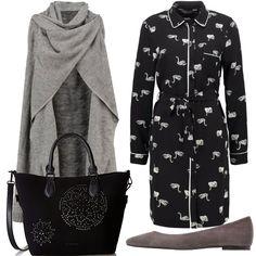 Outfit dai toni del grigio e del nero, indossato in citta' per una passeggiata oppure in ufficio, un tocco semplice e chic la borsa nera con gli strass.