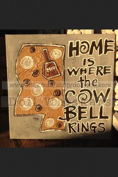 Home Is Where The Cowbell Rings canvas by DollWhiskers on Etsy My Sweet Sister, Mississippi State Bulldogs, College Football, Football Canvas, Rings, Crafts, Painting, Auburn Tigers, Canvas Ideas