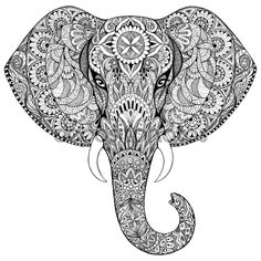 Beautiful hand-painted elephant with ornament. Tattoo elephant with patterns and ornaments — Stockbild #64122123