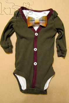 Baby Boy Outfit - Olive/Burgundy Cardigan & Onesie with Removable Bow Tie on Etsy, $32.00