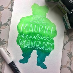 """Agnes Challigraphy (@agnescalligraphy) on Instagram: """"Maurice for #beautyandthebeastlettering by @heatherkletters and Me 😊 Materials I used:…"""""""