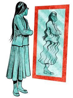 Una adolescente se mira en el espejo y ve una imagen de sí misma distorsionada y con sobrepeso