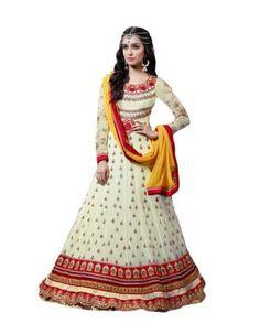 Shraddha Kapoor Cream Georgette Long Anarkali Suit Rs.5,590 42% OFF