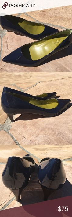 Cole Haan Mid Stiletto -Nike Air NWOT. I couldn't pass these up, so comfy, and the patent blue with green inside is so catchy. Yet as I make a career change, I don't need anymore. Open to offers! Cole Haan Shoes Heels