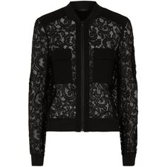 BCBGMAXAZRIA Lace Bomber Jacket ($310) ❤ liked on Polyvore featuring outerwear, jackets, flower print bomber jacket, floral bomber jacket, flight jacket, lacy cami and lace jacket