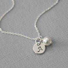 Personalized Necklace, Initial Charm and Swarovski White Pearl on Sterling Silver Necklace Chain, Bridesmaid Necklace, Flower Girl Necklace