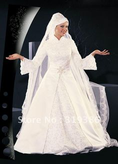 eb57a4e4a269 2014 New Designer Muslim Wedding Gown Pictures With Lace Sleeves MS-007,  $337.18