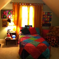 Here's the final product for Clare's bedroom. I'm happy with the Indian vibe. The Beatles poster goes great with Clare's pop art self portrait! The Beatles also loved Indian culture!