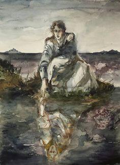 Narcisse Et Echo, Plath Poems, Tragic Love, 3d Illustrations, Ink Painting, Melancholy, Watercolor And Ink, Mists, Surrealism