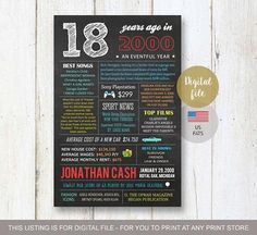 18th birthday gift idea for best brother son boy him men - Personalized 18th birthday gift sign - US Fun facts 2000 poster - DIGITAL file! - THIS LISTING IS FOR A DIGITAL COPY ONLY - NO PHYSICAL PRODUCT WILL BE SHIPPED TO YOU! You will receive high quality jpg file on your email in time