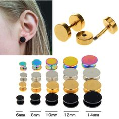 1PC Black Gold 6-14mm Surgical Steel Cheater Faux Fake Ear Plugs Flesh Tunnel Gauges Tapers Stretcher Earring Piercing Jewelry