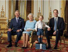 England: 20. April 2016 Die Queen feiert am 21. April 2016 ihren 90. Geburtstag. Im Rahmen der Feierlichkeiten veröffentlicht der britische Hof dieses neue vier-Generationen-Bild, das Prinz Charles, die Queen, Prinz George und Prinz William zeigt.