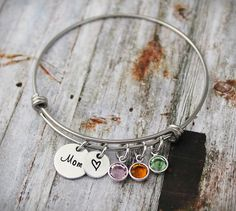 Mom Birthstone Bangle Bracelet with Heart