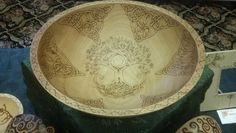 Celtic Tree of Life Large Beech Wood Bowl with Pyrography | FireOakStudio - Woodworking on ArtFire