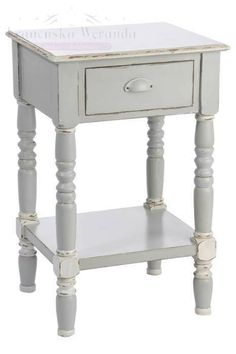 Szafka nocna 1 szuflada Toscana Drewno Błękit 48x40x75 cm Meble Francuskie - cena | sklep internetowy Francuska Weranda