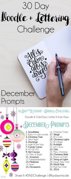 New Drawing Challenge December 30 Day 19 Ideas Doodle Lettering, Creative Lettering, Brush Lettering, Christmas Typography Hand Lettering, Drawing Challenge, 30 Day Challenge, December Challenge, December Daily, Classe D'art