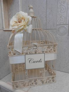 We can buy this for less and have the florist add flowers to it and make a sign...  Ivory Birdcage Wedding Card Box / Elegant Birdcage / Card Box Wedding Decor / Wedding Cardholder