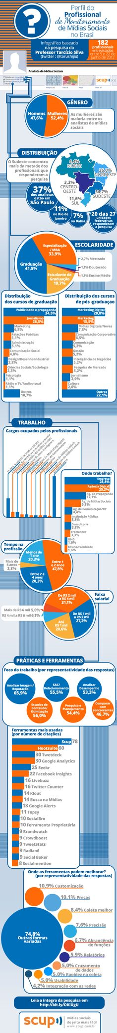 Perfil do Profissional de Monitoramento de Mídias Sociais no Brasil [infografico]