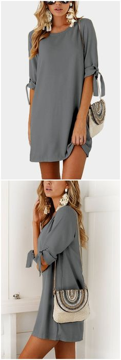 Grey Self-tie at Sleeves Mini Dress US$13.95