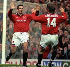 The King: Cantona helped Manchester United to their first Premier League title after leaving Leeds Manchester United Legends, Manchester United Players, Jamie Redknapp, Eric Cantona, Sir Alex Ferguson, Premier League Champions, Hard Men, Retro Football, Football Pictures