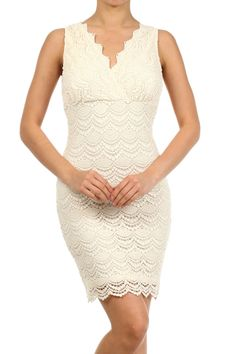 Ivory Crocheted Tank Mini Dress With A V-neck