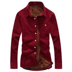 Korean Style Casual Cotton Soft Thicken Warm Corduroy Slim Dress Shirt ($24) ❤ liked on Polyvore featuring men's fashion, men's clothing, men's shirts, men's casual shirts, mens slim fit casual shirts, mens dress shirts, mens high collar dress shirts, mens pocket t shirts and mens cotton dress shirts