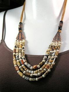 Animal Print Necklace - Ethnic Bohemian - Beaded Necklace - Tribal Necklace, $78, StoneWearDesigns on Etsy