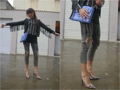 Fringed Suede Jacket and Ripped Jeans