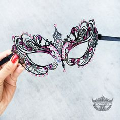 Masquerade Mask, Black Masquerade Mask,  Masquerade Ball Mask, Masquerade Masks [Pink Rhinestones] by 4everstore on Etsy https://www.etsy.com/listing/215585954/masquerade-mask-black-masquerade-mask