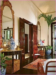 British Colonial style incorporates traditional themes ...