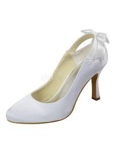 3 1/2'' High Heel White Bow Satin Wedding Shoes - Milanoo.com $65.99