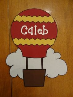 hot air balloon bulletin board...or craft...or? (RA door decor dec decs name tag tags dorm reslife)