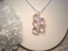 The Claire Pink Swarovski Crystal Heart by NiteDreamerDesigns