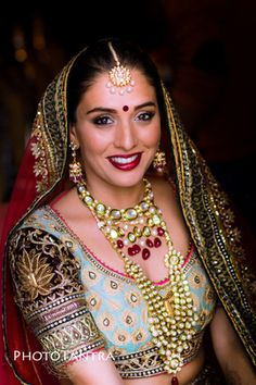 Bridal Portrait - Bride in an Aqua and Gold and Marsala Embroidered Blouse with Polki Jewelry #wedmegood #indianbride #Indianwedding #portrait #bridal #marsala #jewelry