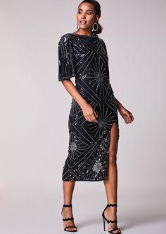 ed4a0527a12 Virgos Lounge Black Kaia Silver Embellished Midi Sparkle Party Dress 10 36  New  VirgosLounge