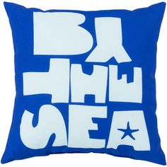 "Beachcrest Home Ruthar Be by the Sea Outdoor Throw Pillow Color: Cobalt/Sky Blue, Size: 26"" W x 26"" D"