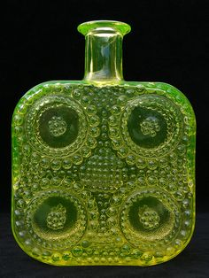 "Riihimaki ""Grapponia"" vaseline glass bottle designed by Nanny Still by art-of-glass, via Flickr"