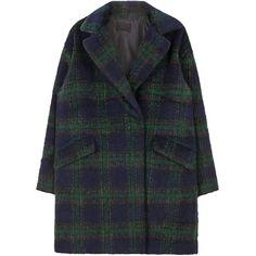 Tartan Check Coat ($45) ❤ liked on Polyvore featuring outerwear, coats, jackets, clothing - outerwear, tartan coat, bunny coat, fur-lined coats, long sleeve coat and plaid coat